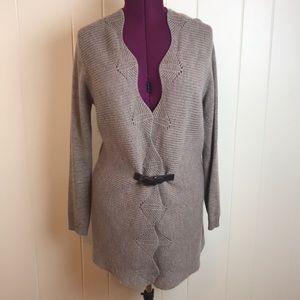 Cynthia Rowley Tan Wool Tunic Length Cardigan